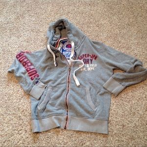 SuperDry Gray Track and Field Hoodie Jacket, XXL